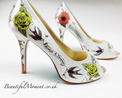 tattoo rose painted wedding shoes
