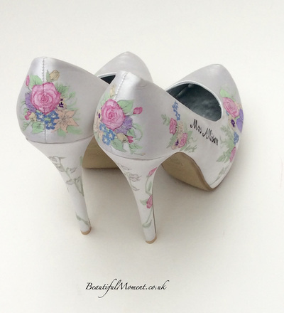 vintage flower wedding shoes