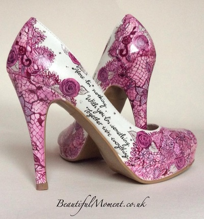 painted lace wedding shoes