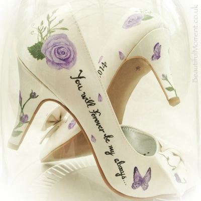 unique wedding shoes with roses
