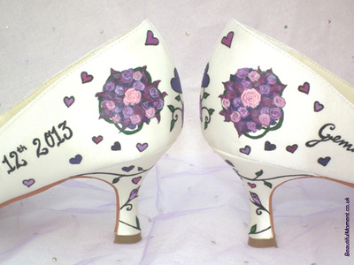 painted wedding shoes mini bouquet