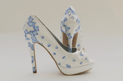 hydrangea wedding shoes