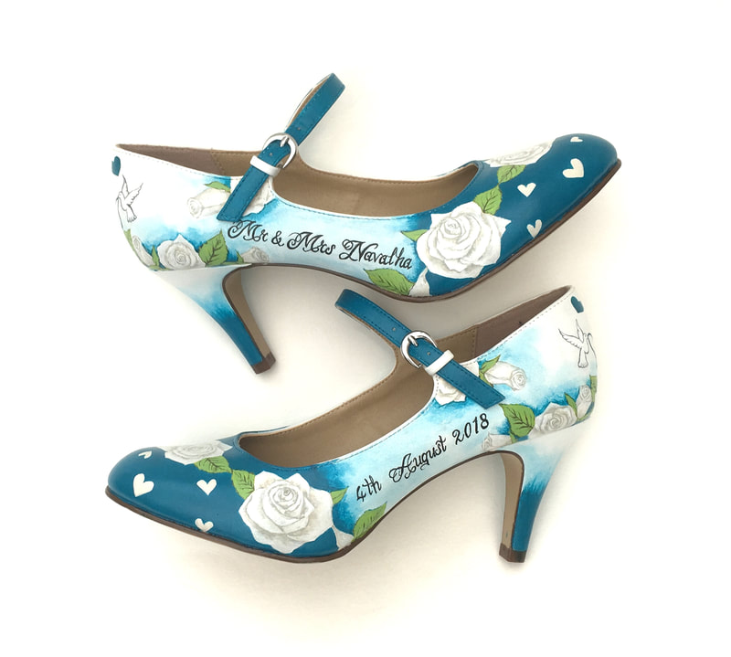 Unique hand painted wedding shoes