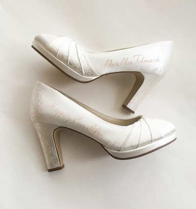 subtle personalised wedding shoes