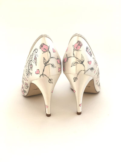 pink rose wedding shoes