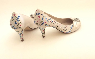 floral personalised wedding shoes