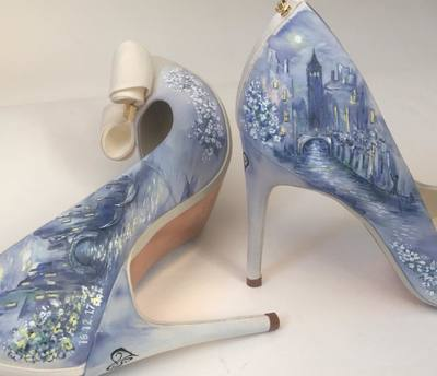 venice painted wedding shoes